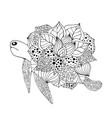 zentangle stylized fantasy turtle vector image