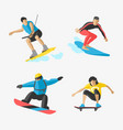 snowboard jumping extreme athletes vector image