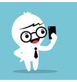Cartoon Businessman holding smartphone and selfie vector image