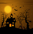 Halloween haunted castle with bats background vector image