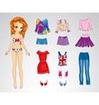 Paper Red Hair Bright Doll vector image