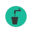 Bucket and water tap silhouette vector image