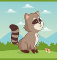 cute raccoon animal baby with landscape vector image