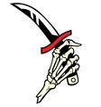 hand bone hold a dagger vector image