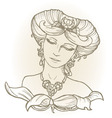 Graphic sketch of girl head in vintage style vector image vector image