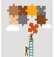 workers put puzzle in to place vector image