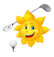 blue eyed sun is playing golf vector image vector image