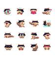 raccoon cartoon character icons big set vector image