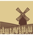 windmill in wheat field vector image