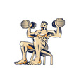 High Intensity Interval Training Dumbbell Etching vector image