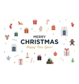 Greeting Christmas and Happy New Year Card with vector image