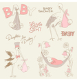 vintage baby girl shower vector image
