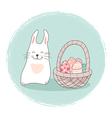 Easter card with rabbit and basket vector image vector image