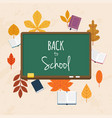back to school with books and autumn leafs on vector image