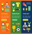 cartoon soccer sport game banner vecrtical set vector image