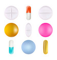 medical pills set different colors isolated on a vector image