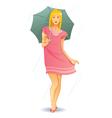 Pretty umbrella girl vector image