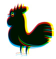 Rooster Abstract RGB Digital Psychedelic vector image