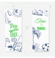 summer travel doodle banners with boat vector image