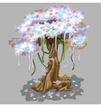 Tree with pink foliage and blue falling leaves vector image