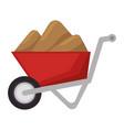 wheelbarrow construction with sand vector image