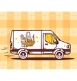 van free and fast delivering basket with vector image