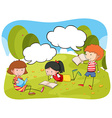 Children reading book in the park vector image vector image
