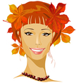 autumn beautiful woman portrait vector image