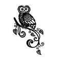 Decorative Owl on Ornate Branch vector image