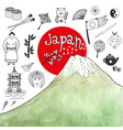 doodle hand drawn collection of japan icons with vector image