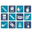 Flat Smoking and cigarette icons vector image