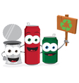 Funny Empty Cans Holding Recycling Sign vector image