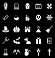 Halloween icons on black background vector image