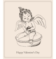 Postcard Happy Valentines Day with the small girl vector image