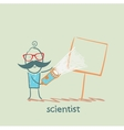 Scientist shines a flashlight on a poster vector image
