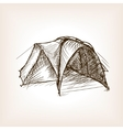 Tourist tent sketch style vector image
