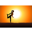 Woman stretching her leg vector image