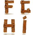 wooden F G H I vector image