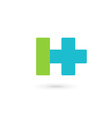 Letter H cross plus logo icon design template vector image