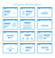 headers wireframe components for prototypes vector image vector image