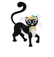 Black cat keeps the mouse vector image
