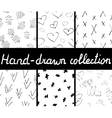 Collection of ink hand drawn seamless patterns vector image