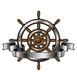 Ship steering wheel with banner vector image
