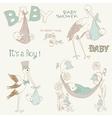Vintage baby boy shower vector image
