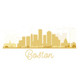 Boston City skyline golden silhouette vector image