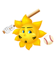 cartoon sun is playing baseball vector image vector image