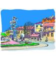 digital painting of kamenetz-podolsky town vector image vector image