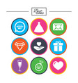 wedding engagement icons love oath letter vector image