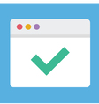 Browser and Check Mark Icon vector image vector image
