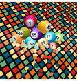 Bingo balls breaking a coloured tiles background vector image vector image